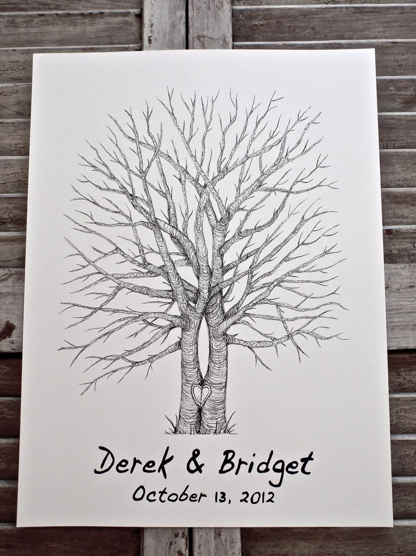 Split Trunk X-Large Fingerprint Wedding Tree Guest book Hand