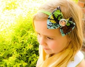 SALE Fabric Hair Bow Headband, Modern Bright Multi Color Print, Little Girl With Doll Green, Gray, Turquoise, Newborn, Baby Girl, Toddler