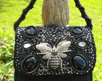 EVENING ELEGANCE Black Bead Embroidered Purse -RESERVED