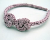 Pink knitted cotton yarn headband for children and teen girls, kids accessories, nautical knots, pastel colors