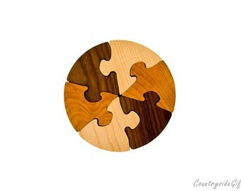 Wooden Puzzle - Natural & Organic Hardwood Wheel Puzzle - Wood Toy, Wood Puzzle, Handmade, Kids, Children, Eco-Friendly