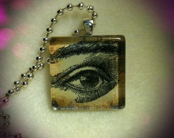 Glass Tile Pendant Necklace--I See You--Eye