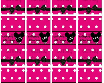 Minnie Mouse Theme Mini Candy Bar Wrappers Birthday Favors