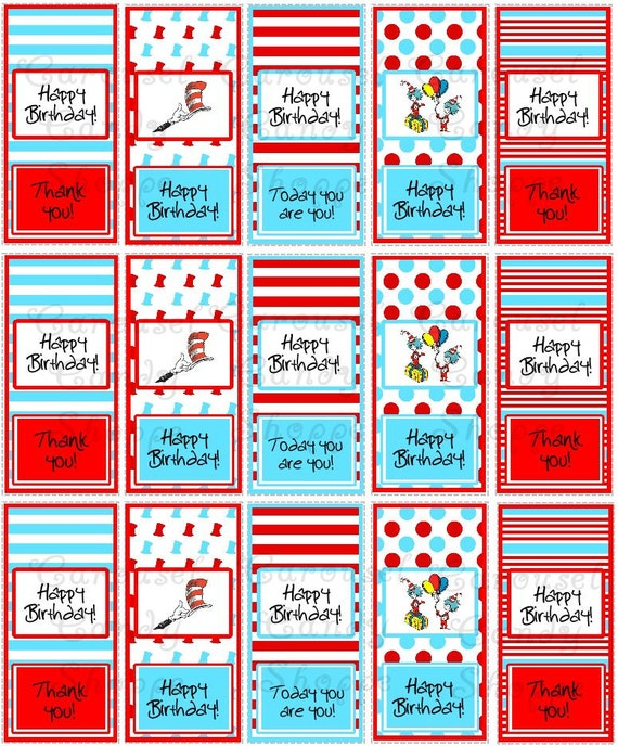 Dr Seuss Inspired Mini Candy Wrappers Diy Printable Instant