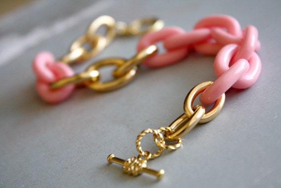 Arm Candy - pink and gold large link bracelet - vintage lucite links