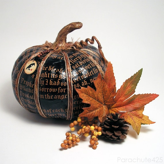 The Raven Pumpkin 122, black decoupage pumpkin, Halloween, Fall decor, noir, macabre, goth