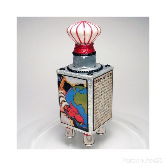 Sci-Fi Imagination Sagan art block, geekery, recycled, assemblage, robot,  science, dorm art