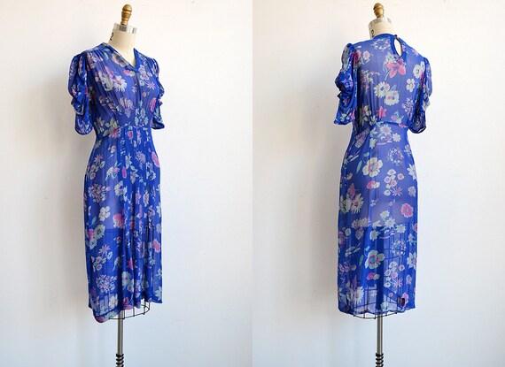 vintage 1930s dress / vintage 30s dress / vintage 30s blue floral sheer dress / 1930s dress
