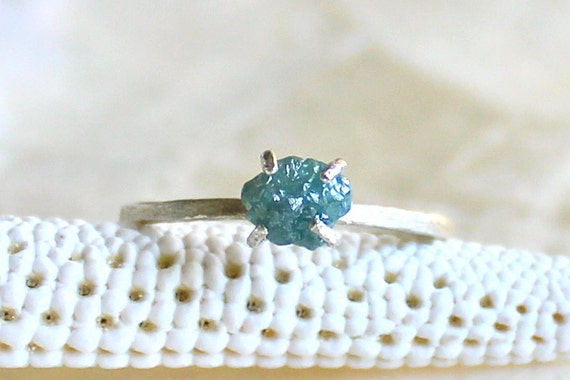 Blue .57 Carat Raw Rough Diamond and Sterling Silver Ring - Promise Ring, Wedding Ring - Natural Conflict Free