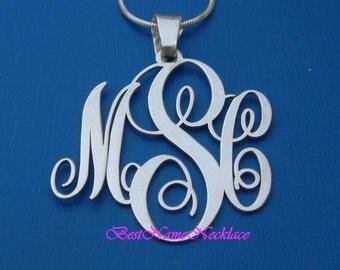 monogram necklace, personalized monogram necklace, silver monogram necklace, initials necklace, script monogram necklace, custom monogram