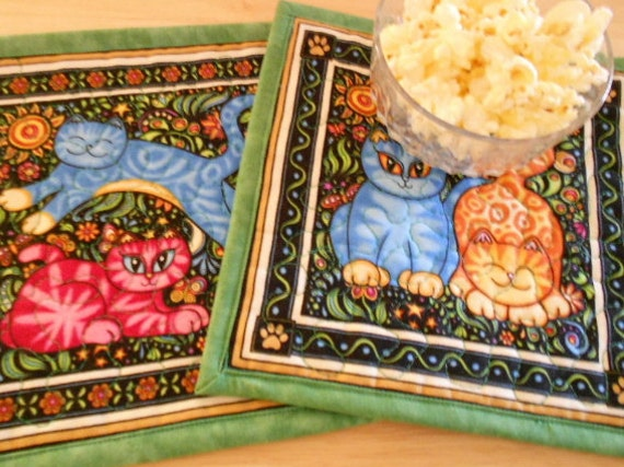 Cats Quilted Mug Rugs set of 2,  Large Coasters, Candle Mats, RJR Sew Catty Fabric