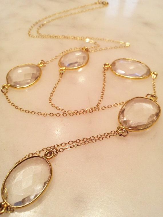 Multi-Stone Crystal Quartz Bezel Set in 22k Gold Vermeil Necklace
