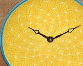 Wall Clock -  Sunny Yellow with Blue Trim Ceramic Plate Wall Clock No. 926 (8 inches)