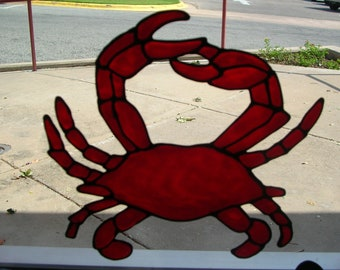Crab stained glass window Cling