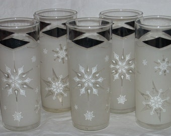 Mid Century Black Diamonds and Snowflakes Glass Tall Tumblers