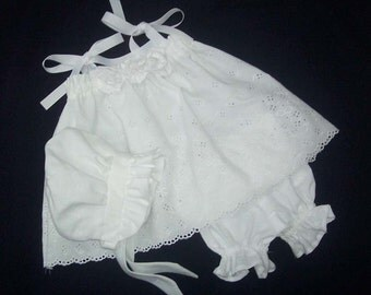 Beautiful Handmade Baby Outfit in White Eyelet
