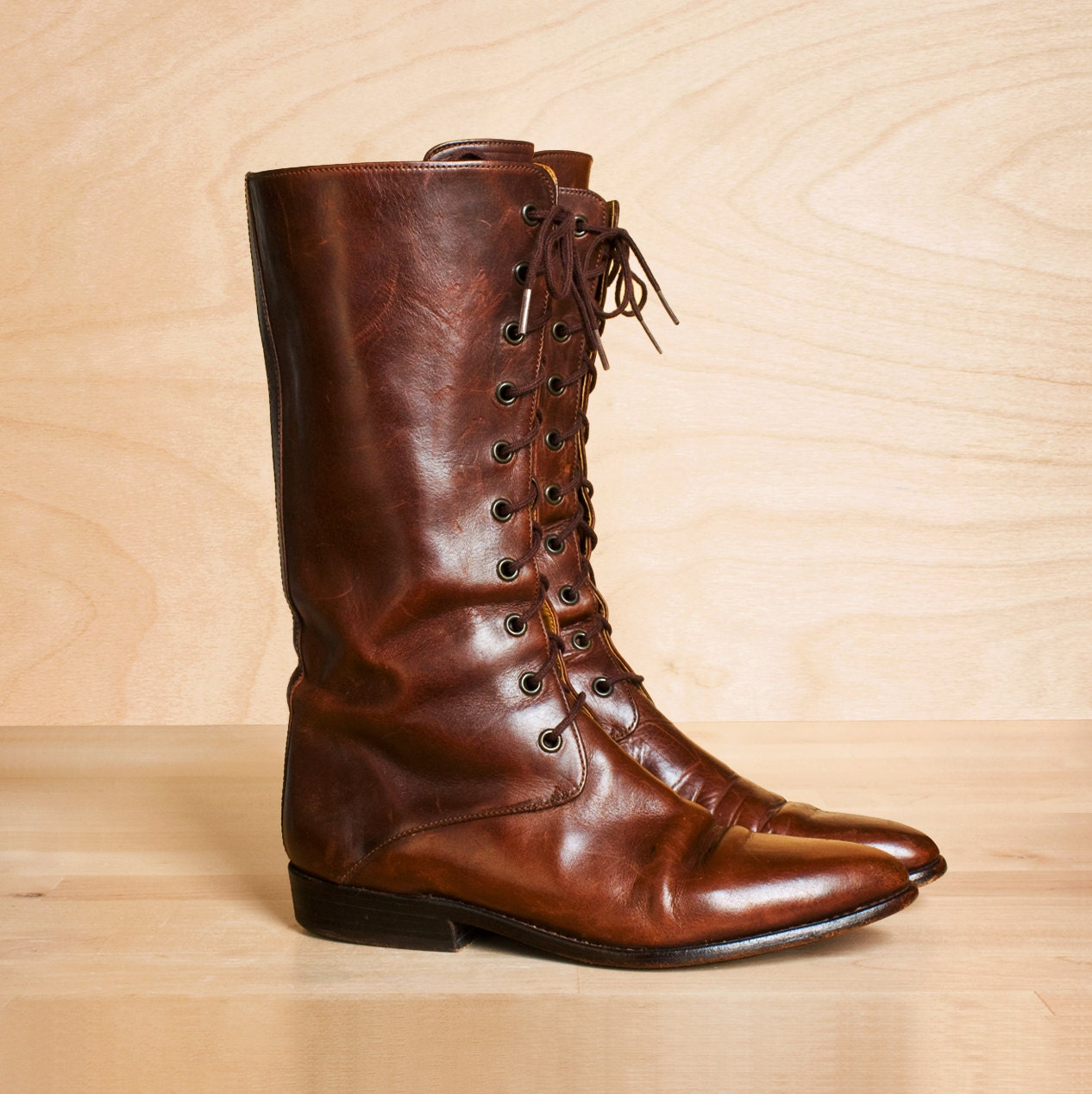 Vintage Cole Haan Lace Up Riding Boots 7 5 7 By Kenaione