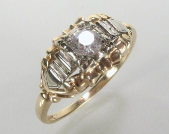 Antique Old European Cut Diamond Engagement Ring - 0.28 Carat