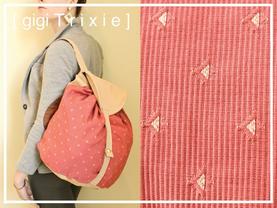 Pink Diamond Backpack, Faux Suede and Tribal Diamond bag