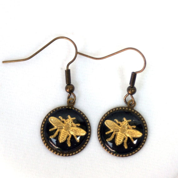 Vintage French Inspired Bee Earrings
