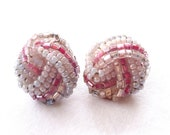 Vintage, Pink Beaded Button ClipOns : C32