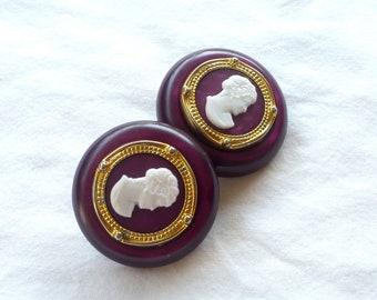 Large, Vintage Cameo Maroon ClipOn Earrings : C26