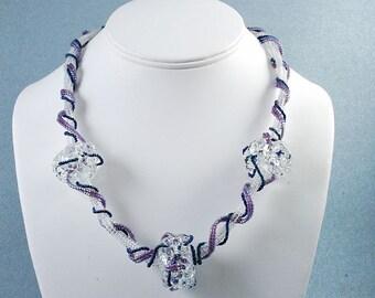 Galactic Labyrinths Necklace, Transparent Art-Glass Lampwork Beads, Boho Beadweaving Necklace, OOAK