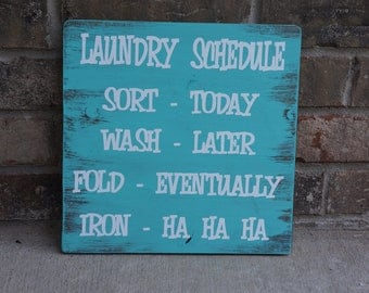 Custom Laundry Schedule Wooden Sign YOU CHOOSE COLORS