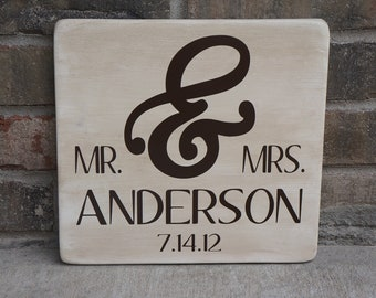 Custom Personalized Mr & Mrs Wedding Wooden Sign