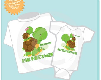 Personalized Set of 2 Big Brother and Little Sister Turtles Tee Shirts or Onesies (09062012a)