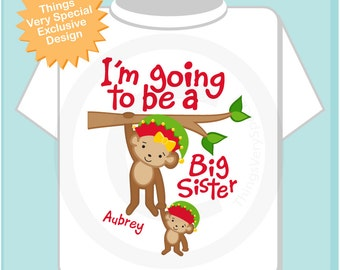 Girl's Personalized I'm Going to Be A Big Sister Monkey Shirt or Onesie with Christmas Theme for Pregnancy Announcement (11262012d)