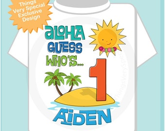 First Birthday Tee Shirt, 1st Birthday Shirt, Personalized Boy's Hawaiian Luau, Age and Name Tee or Infant Onesie for kids (11292012a)