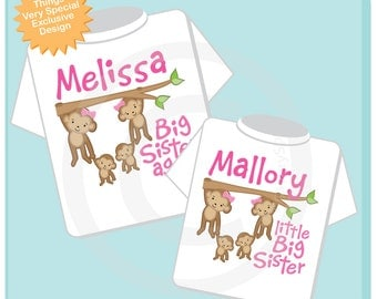 Girl's Set of Two Big Sister Again and Little Big Sister of Twins Tee shirts or Onesies, Pregnancy Announcemnt, Baby Shower Gift (12062012a)