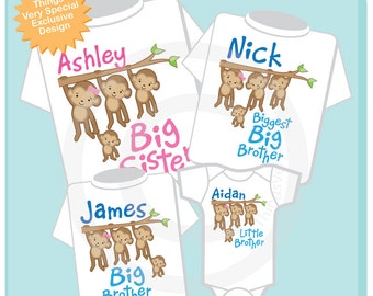 Set of Four Sibling Monkey Shirts and Onesies, Big Sister, Biggest  Brother,  Big Brother and Little Brother Tees and Onesies (06192013a)