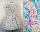 SALE 1980s 1950s Dress - Vintage 80s Novelty Print Tropical Island Hut Cotton Designer Full Skirt Party Dress M L - Love Shack