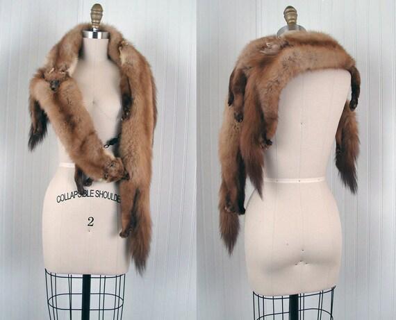 Vintage Stone Marten Fur Stole - BEST OF ALL 1940s Deco Full Pelt Body Triple American Sable Fur Shawl Wrap