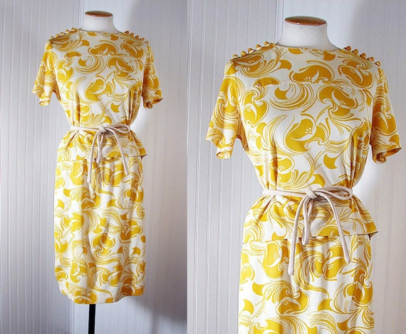 1960s Dress MISS DIJON Vintage Mustard Yellow and White Designer Jersey Top and Skirt Ensemble m l