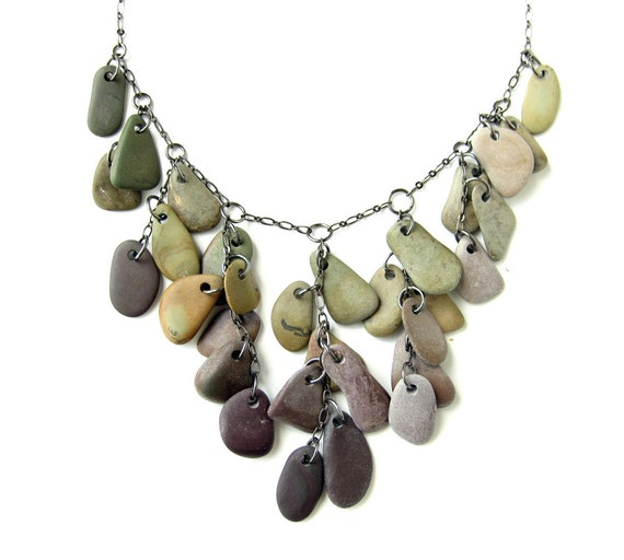 Statement Jewelry - River rock bib necklace - Falling Rocks - 660