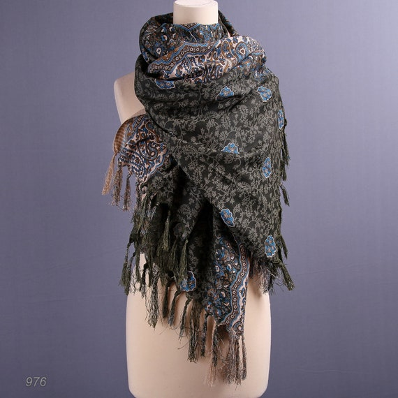 Large Oriental Scarf / Fringed Boho Wrap /Shades of Green
