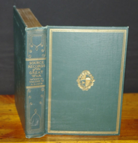 Hollow Book Safe Source Records of the Great War vintage Green cloth bound 1920s Premium Binding
