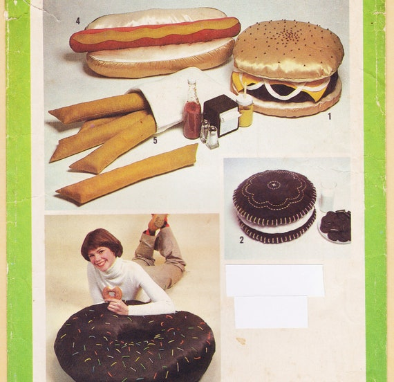Giant Food Pillows Pattern Hamburger French Fries Donut Cookie Hot Dog Simplicity