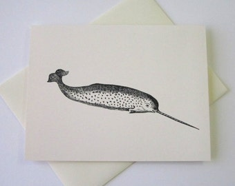 Narwhal Note Cards Stationery Set of 10 Cards