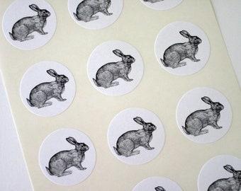 Rabbit Stickers One Inch Round Seals
