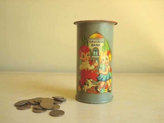 Vintage childs tin bank, metal still bank, decal 1940s