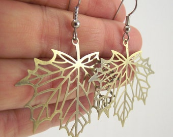 Maple Leaf Skeleton Earrings, Brass Earrings, Leaf Earrings, Woodland Jewelry, Gift for her, Unique Gift under 20
