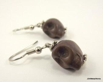 Mini Brown Skull Earrings, Small Earrings