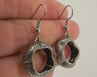 Small Snakeskin Antiqued Silver Earrings