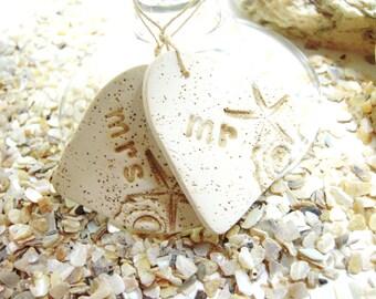Mr and Mrs Wine Glass Charms Starfish Beach Wedding Theme Bride and Groom Champagne Wedding Toasting Glass