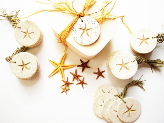 Wedding Favor Tag Favors Gift Hang 45 Tags Starfish Beach Wedding Ornament Bridal Bouquet Charm Wine Charms White Tan Polymer Clay