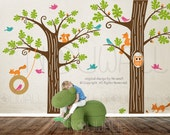 Kids Wall Decals Wall Sticker Tree Decal - Animal Friends in Woodland  - 081